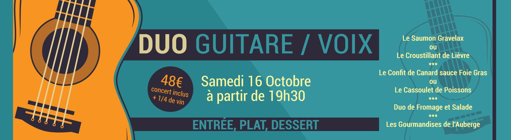 Soirée Duo Guitare Voix, Samedi 16 Octobre à partir de 19h30